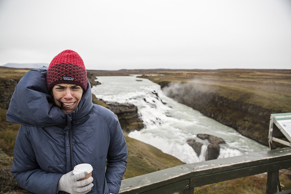 Sloane at Gullfoss, her expression says it all.
