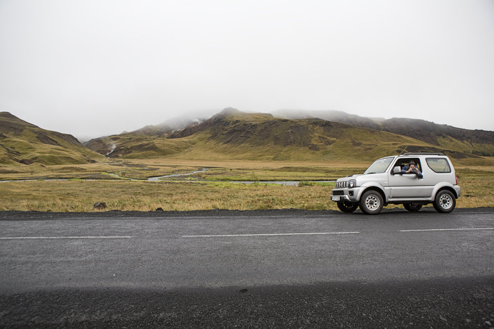 Sloane on the road to Reykjadalur.