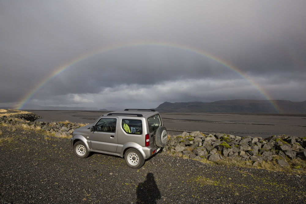 Mega rainbow, looking inland toward Seljalandsfoss.