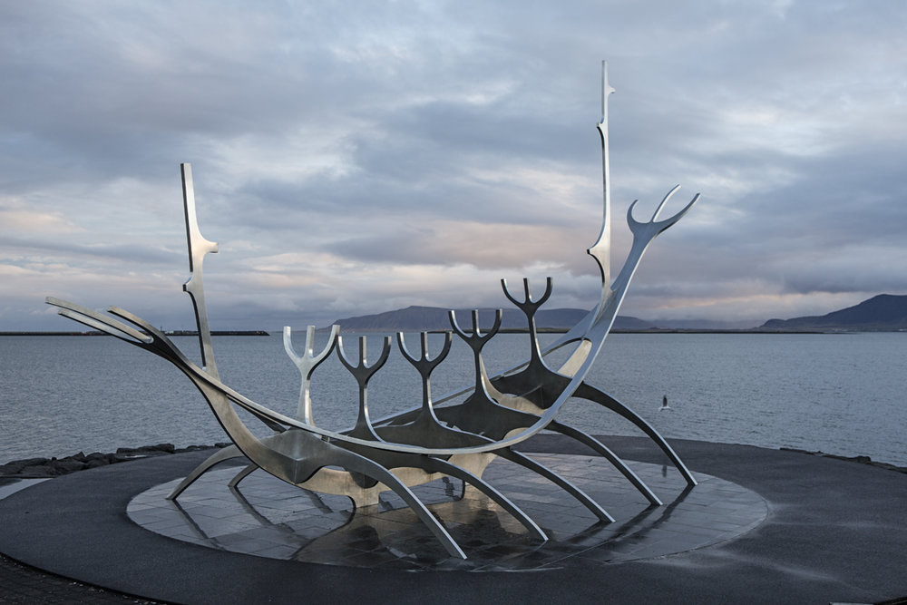 Sunvoyager statue on the water, right near our apartment.