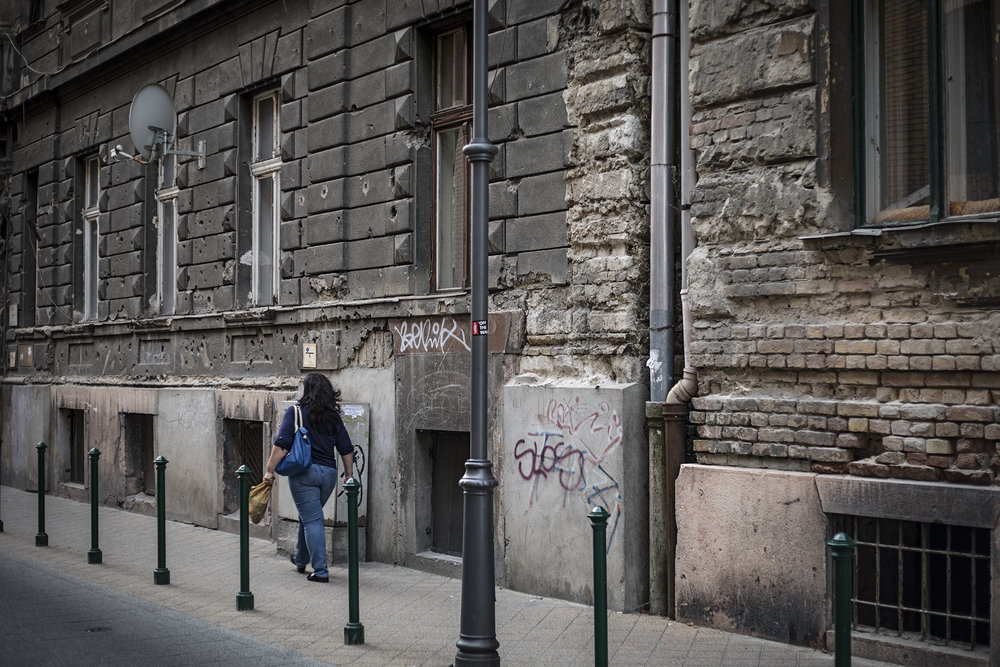 Bullet holes and graffiti - a very different view of Budapest from the tourist areas.