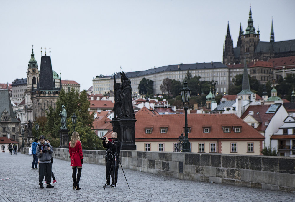 Fashion shoot early morning on the Charles Bridge.