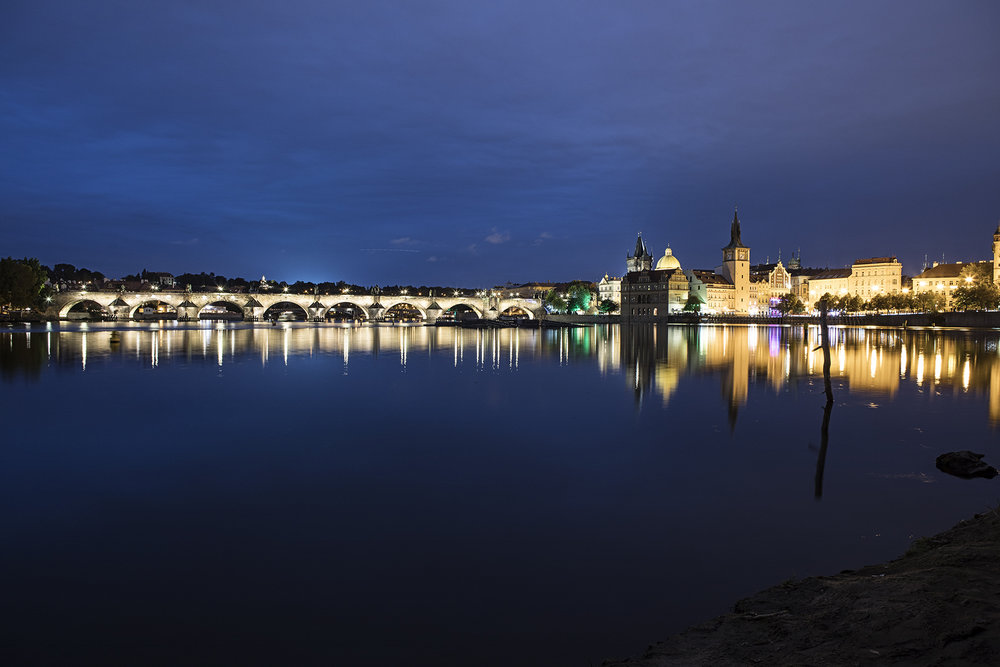 Charles Bridge and old town as seen from Shooter's Island in the Vltava River.