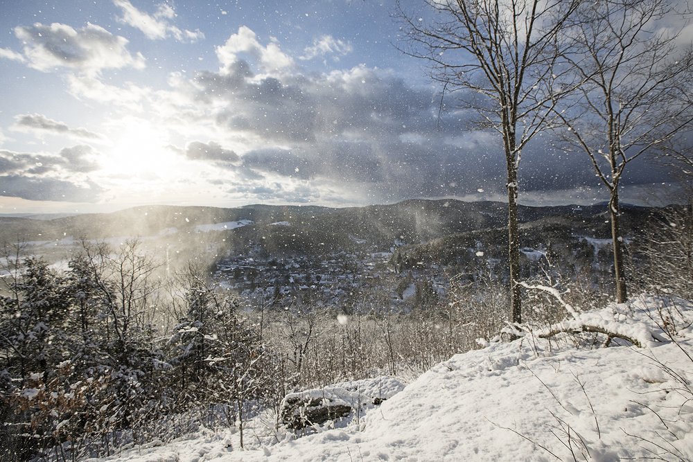 Snow falling off the trees created this dreamy shot of the village of woodstock, from the south peak of Mt Tom.