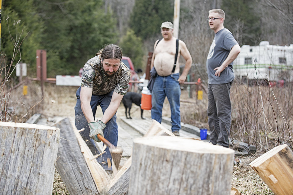 Wood splitting is a spectator sport.