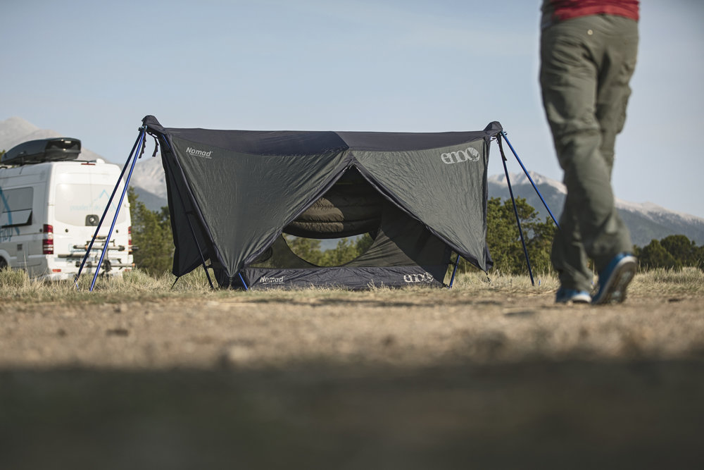 Eno nomad stand and shelter all set up. This is basically a tent with a hammock inside of it, pretty cool idea.