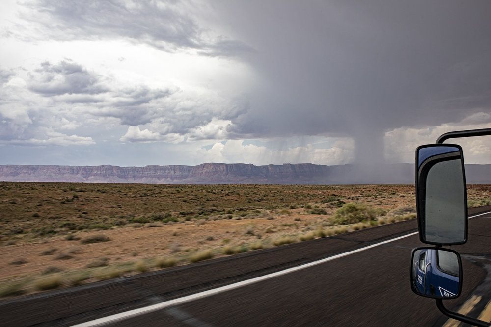 Localized rain storm over the canyon viewed from Bitter Springs, AZ.