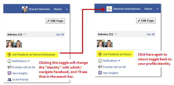 Facebook Identity Toggle