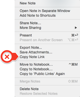 accessed by right clicking on a note in the note list