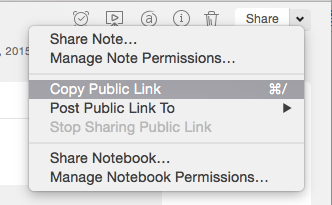 how to copy public note link from share down arrow [mac]