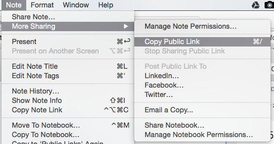 HOw to copy public link from th enote menu [mac]