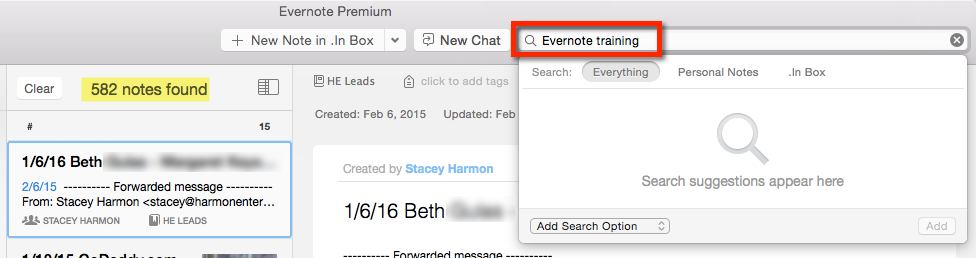 Standard Evernote search yields 582 results