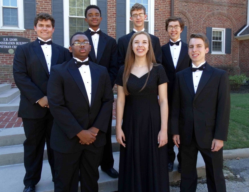 All Southwest Senior High  Front row L-R:  Jordyn McNeil (11) - Tenor 2, 14th chair;  Cameron Donlin (9) - Soprano 2,  19th chair; Zach Riedel (12) - Tenor 2, 22nd chair Back row L-R: John Shanklin (12) - Bass 1, 16th chair; Julian Isabel (10) - Bass 2, 20th chair;  Wilson Hughes (11) - Bass 2, 21st chair; Caleb Cranford (11) - Bass 1, 7th chair
