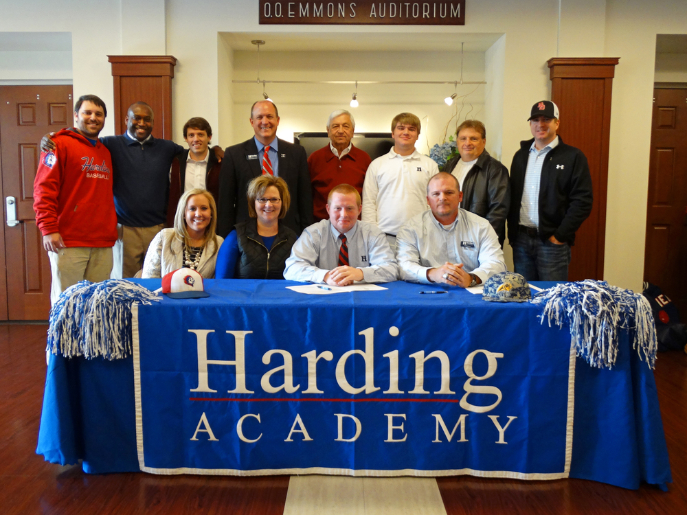 Back row (l to r): Josh Stevens, assistant coach varsity baseball; Kevin Starks, executive vice president and athletic director;  Drew O'Brien, Trent Williamson, president; Bill Linder; Connor Stevens; Dr. Tim Sumner; Coach Cory Sumner Front row (l to r): Morgan Faulk; Kim Stevens; Nolan Stevens; Al Stevens, head coach varsity baseball