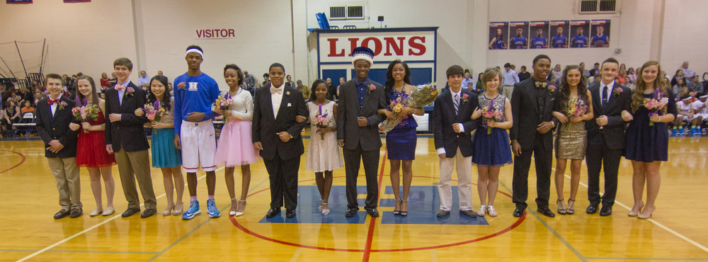 Left to Right: 7th grade Jacob Altrock and Mary Paige Rowsey; Freshmen Ryan Kolznak and Catherine Lock; Juniors Anthony Yarbrough and Kylah Briggs; Seniors Kilandous Hulon and Morgan Threatt; King & Queen Seniors Justice Laws and Jennifer Nichols; Seniors Christopher Galbreath and Anna Rogers; Sophomores Marquavious Moore and Payton Selby; 8th grade Preston Cates and Alaina Abbott