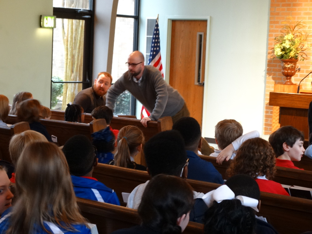 Chapel talk at Harding White Station to grades 1–6.