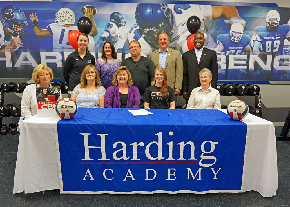 Front Row L-R: Debbie Jackson, grandmother, Kevlyn Dodd, grandmother, Tina Jackson, mother, Christina Jackson, and Dorothy Rikard, grandmother  Back Row L-R: Alyssa Hall, varsity head coach; Andrea Sansone, assistant coach; Leland Jackson, father; Trent Williamson, president; and Kevin Starks, executive vice president and athletic director