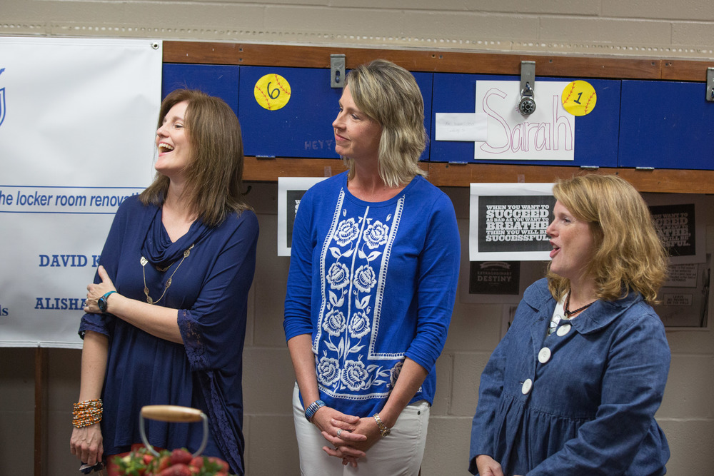 (L-R): Parents Cindy Savage, Kelly Horner, and Michelle Stubbs led the initiative to renovate the Lady Lions Locker Room.