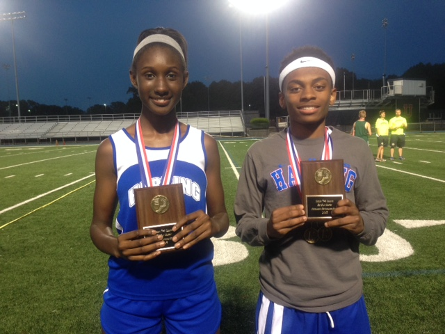 (L-R) LaNea Wallace and Austin Jackson won the Outstanding Performance Award at the Shelby 7/8 small school division championship track meet.