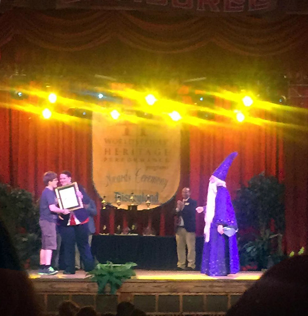 """Brendan Welty received the """"When You Wish"""" Award."""
