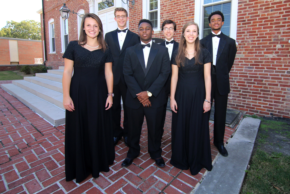 Back row: (l to r) Wilson Hughes: 3rd chair, bass 2, Caleb Cranford: 1st chair, bass 1, Julian Isabel: bass 2 Front row: (l to r): Kendall Ford: alto 1, Jordyn McNeil: tenor 2, Cameron Donlin: 7th chair, soprano 2