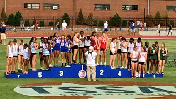 Imani Harris, Nia Bowley, Abigail Howell, and Cami Bea Austin ran a season best and finished 3rd in the 4x100.