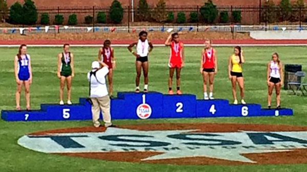 Sarah Luttrell finished 7th in the 100 meter hurdles at the State Championship.