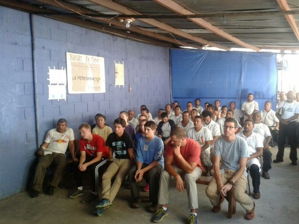 Our group spent one morning worshipping with gang members in a prison outside of Tegucigalpa.  Pictured (left to right): front row- Ian Sharp, Carter Galbreath, Jake Darnall, Jud Maxwell, Seth King; second row- Payton Selby, Hannah Wright, Deanna Hutson; third row- Mallory Wyatt.