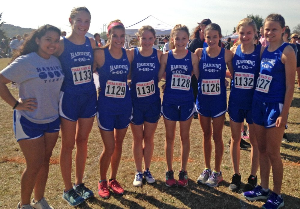 Our girls team before the race. They all ran course PRs!