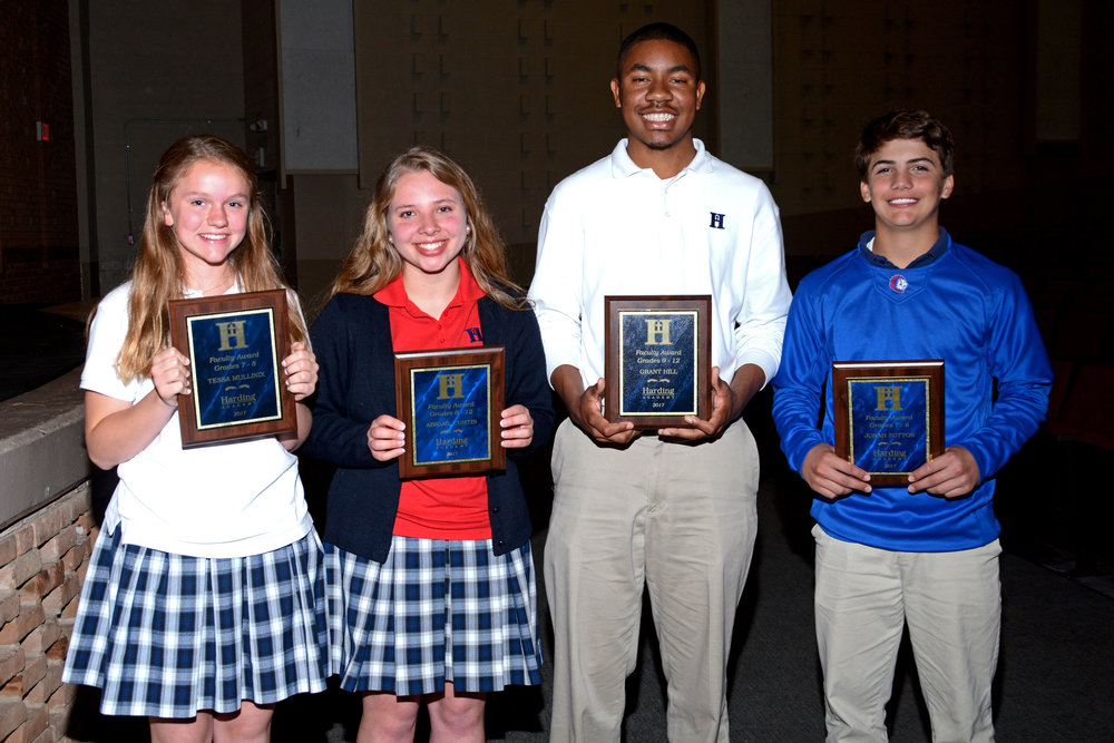 Faculty Awards: Tessa Mullinix (Grades 7–8), Abigail Curtis (Grades 9–12), Grant Hill (Grades 9–12) and Jonah Sutton (Grades 7–8)
