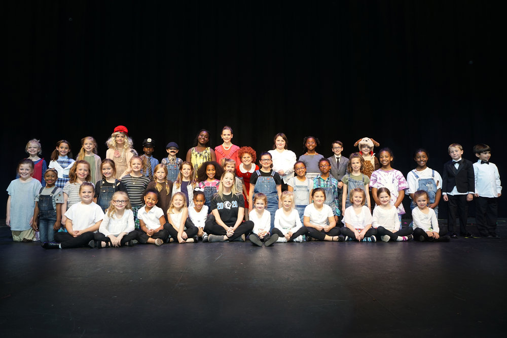 Annie KIDS cast with Mrs. Jennifer Aycock our wonderful, energetic director.