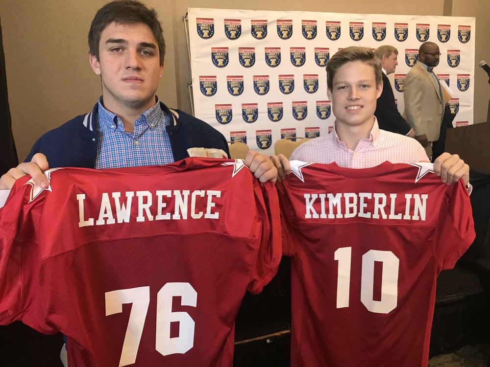 Will and Ty with their Red Team jerseys at the players luncheon. Photo credit: Coach Allen