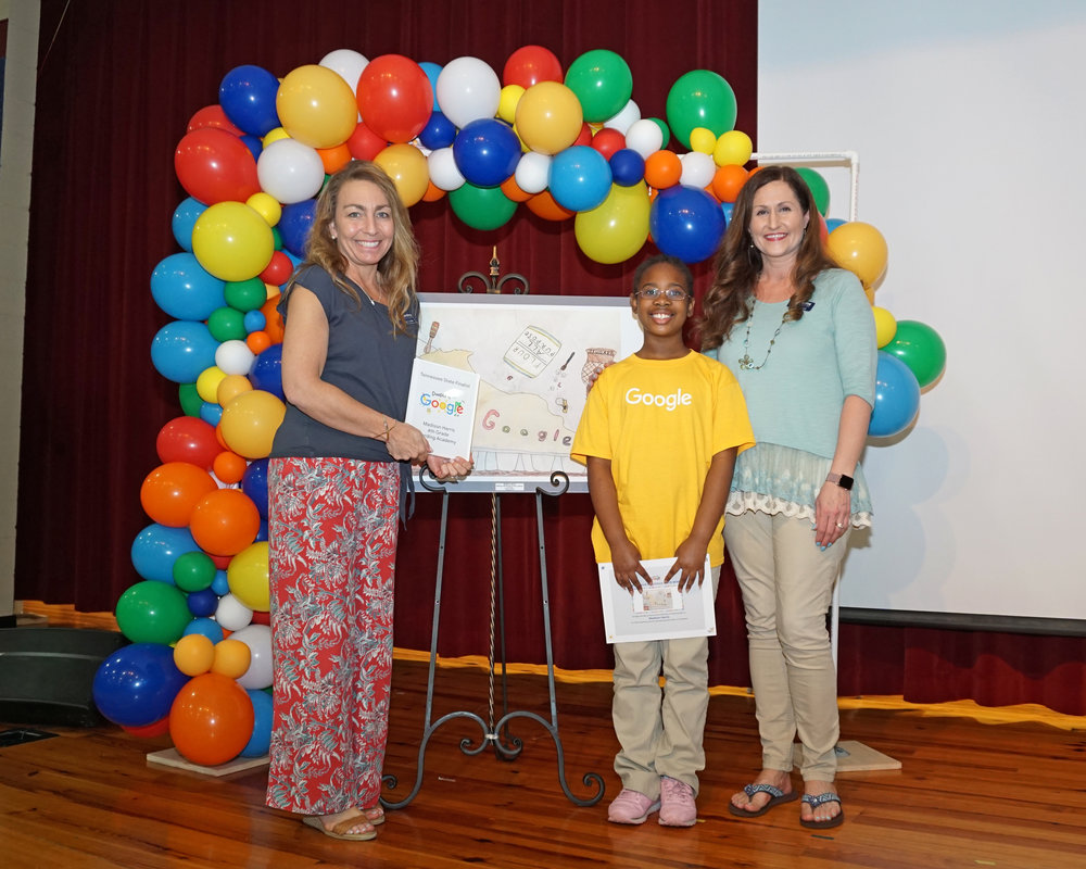 Madison with Mrs. Christy Cobb, (CDLS principal) and Mrs. Betsy Kolznak (lower school director)