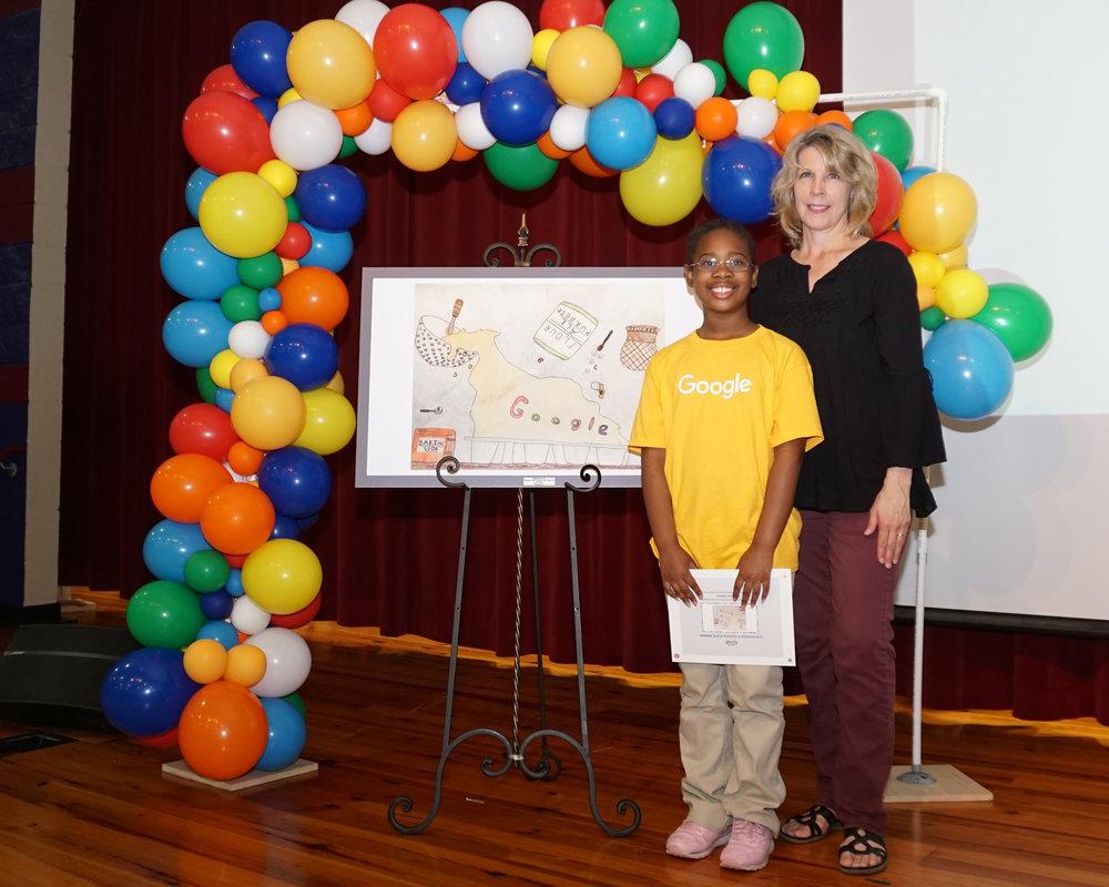 Madison Harris with her lower school art teacher Bridget Cornelius