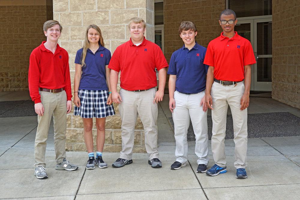 Executive Officers (l to r):  John Denney, Historian; Jamie Ezell, Vice President; Thomas Rovery, President; Austin Morse, Treasurer; Jackson Davis, Secretary