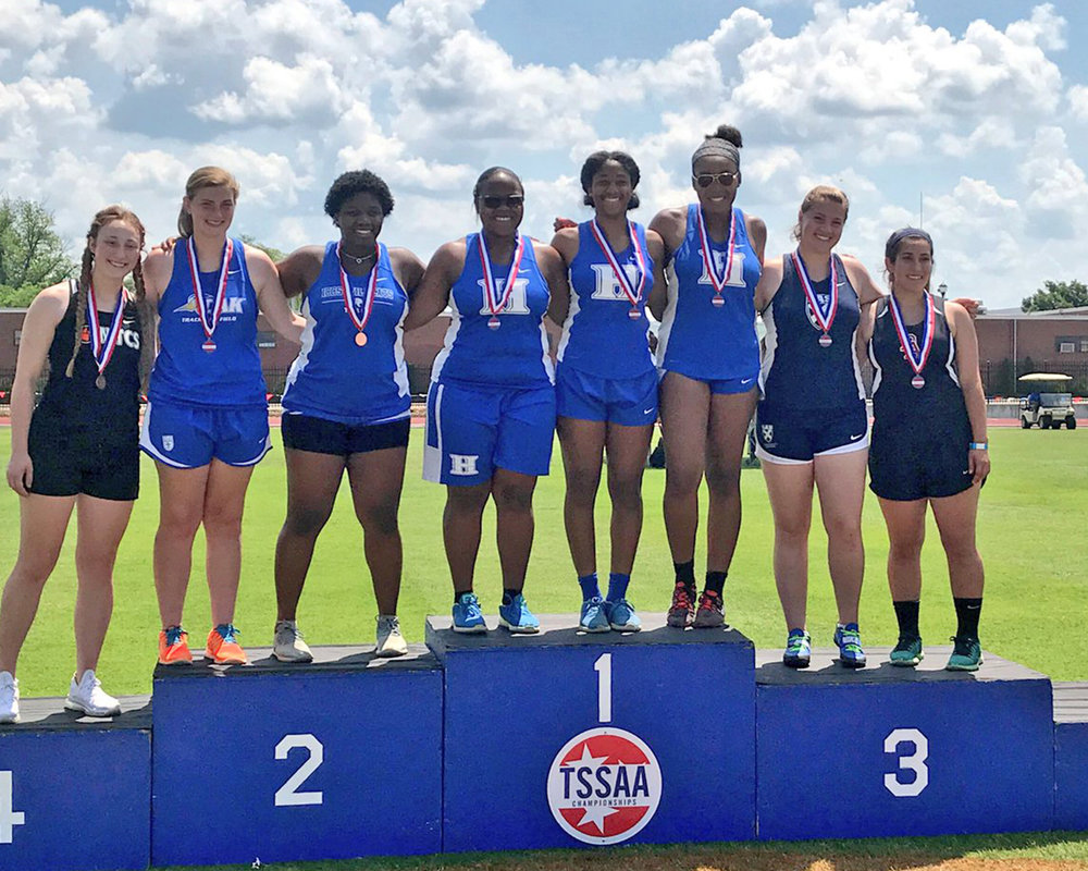 STATE CHAMPION in shot put! Hailey Smith is the State Champion, Jocelyn Bringht finishes 2nd, and Kimari Terrell finishes 3rd.