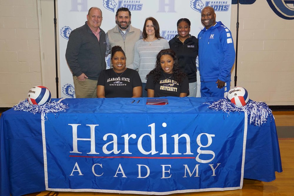 Back row (l to r): Trent Williamson, Head of School; Coach Michael Sansone; Coach Andrea Sansone; Coach Kaylah Keys; Kevin Starks, Athletic Director  Front row (l to r): Tijuana Terrell and Kimari