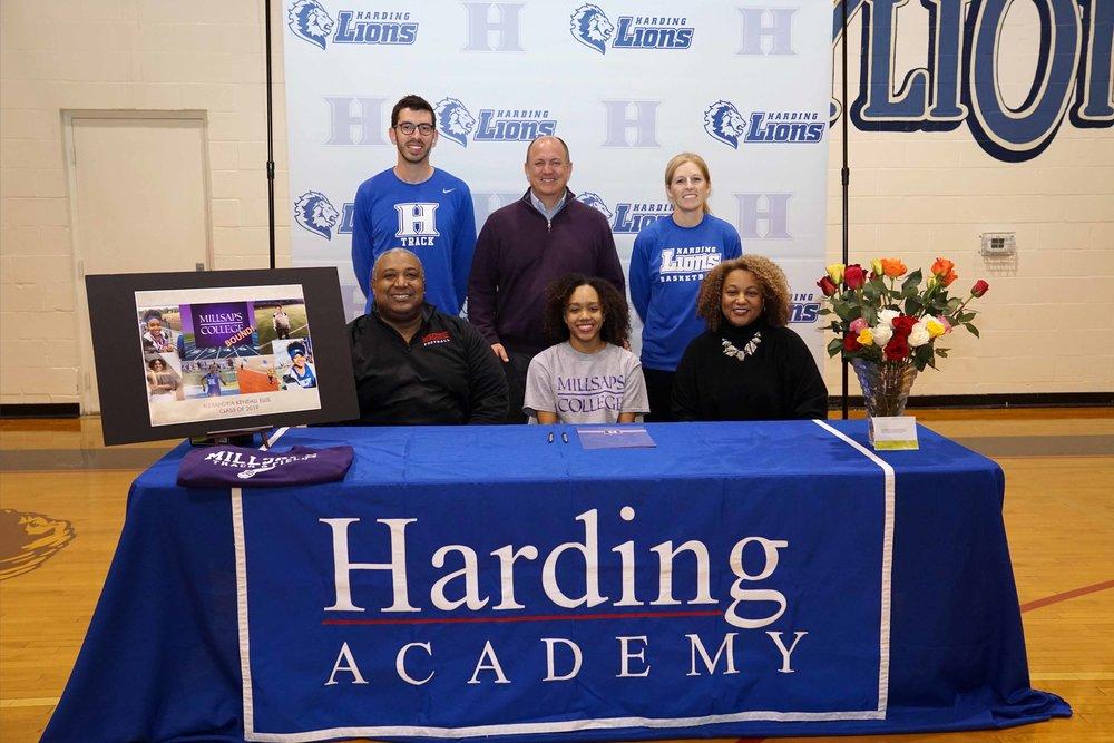 Back row (l to r): Seth King, Track Coach; Trent Williamson, Head of School, Becky Starks, Basketball Coach Front row (l to r): Derwin Ellis, Alexandria Ellis, Karen Ellis