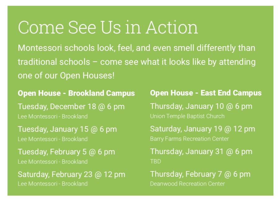 Click here to sign up for current available Open House & Info Sessions