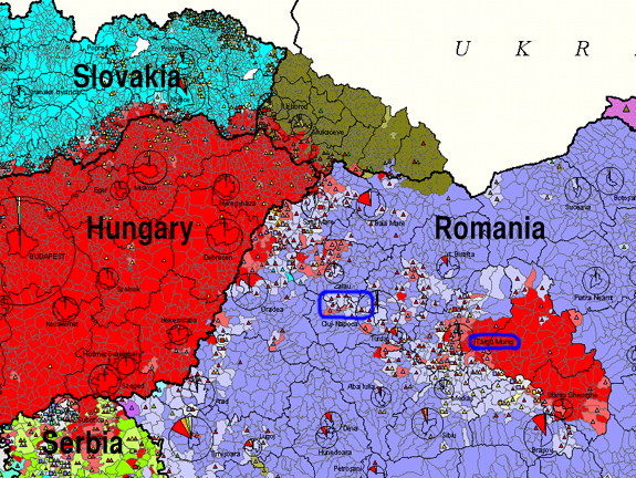Map of the area showing ethnic populations, 1992. Red: Hungarians, Lavender: Romanians. Author, Sebök László, Publisher,Teleki László Foundation, Budapest. In blue, I have circled the Kalotaszeg region on the left and Târgu Mureș/ Marosvásárhely, where I am working.