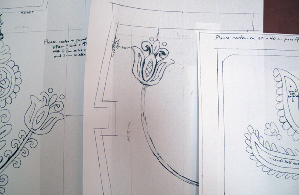 Copies of the rough sketches of the embroidery designs, based on pieces seen in churches, sent to the artisans in April, 2012.