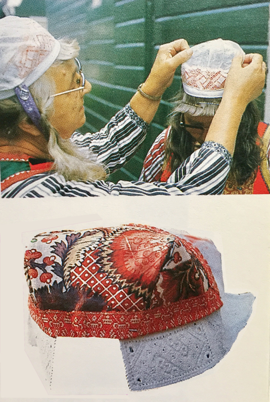 Woman helping another with her cap and view of a cap from the back.  The cap would cover the cotton and embroidery beneath. Image from Klederdrachten by Nieuwhoff, Diepraam, and Oorthuys, Elsevier, 1984.