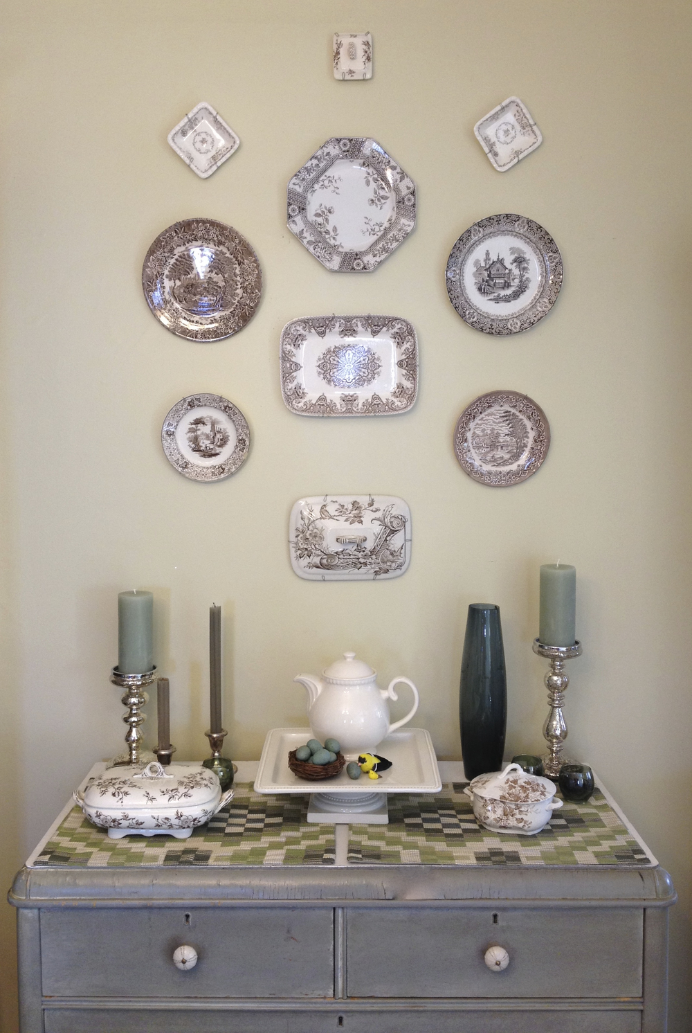All but three items in this vignette the client had in storage!  We pulled out her transfer ware collection and put it up on the walls for her to enjoy every day!
