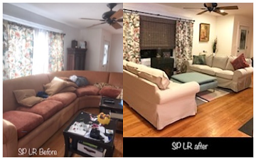 Client living room Before & AFTER staging