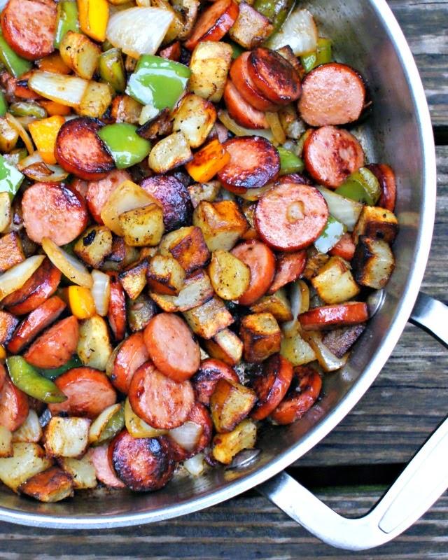 Paleo Baked Kielbasa and Potatoes in Sauce