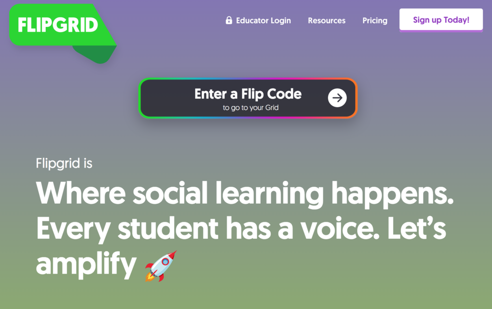 FlipGrid - FlipGrid is a game changer for encouraging students to practice their speaking skills. Students can record short videos, but they have the ability to pause, watch, and re-record as necessary, so there is an intuitive way for them improve as they record. The website's grid design also makes it easy for students to watch videos made by their peers. Because the website saves the videos by topic, it is easy for me to get formative data and student improvement over time.