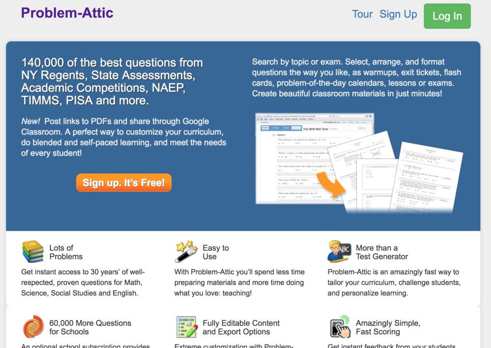 Problem-Attic - What I love about Problem-Attic is that the website synthesises many external exams into one place, so you can get a sense of what will be expected of students. It also has a focus on formative activities and data analysis that other sites assessment don't, so it feels more applicable to the classroom.