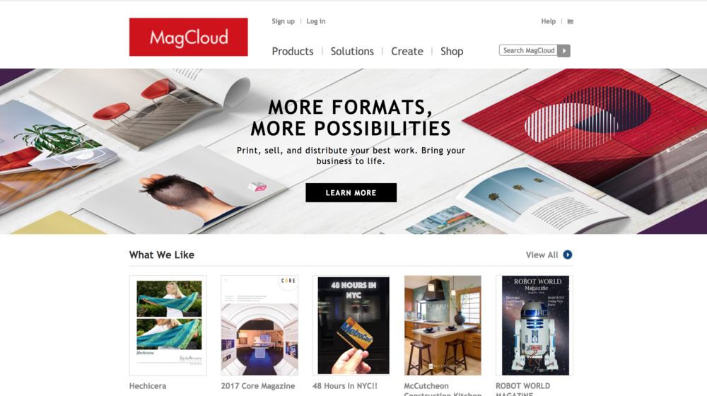 MagCloud - I have found MagCloud to be a classy way to spread digital publications, especially literary magazines, newsletters, or classroom books. The products can be as professional looking as you want, and you can even order physical copies of your digital publication. I also deeply appreciate that you can set your MagCloud store to have free digital downloads.