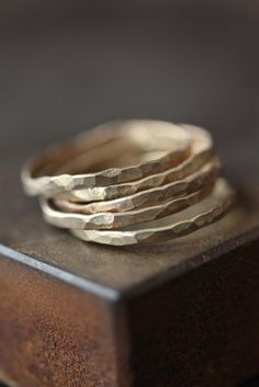 Hammered Gold Stacking Rings  by LexLuxe, $48