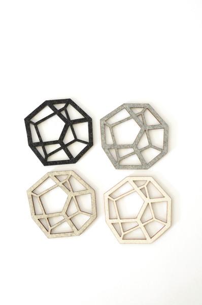 Pentahedron Coasters by Koromiko, $40